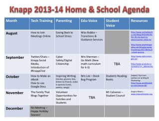 Knapp 2013-14 Home & School Agenda