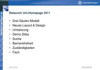Relaunch  Uni-Homepage 2011