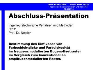 Abschluss-Pr�sentation Ingenieurstechnische Verfahren und Methoden 52111 Prof. Dr. Nestler