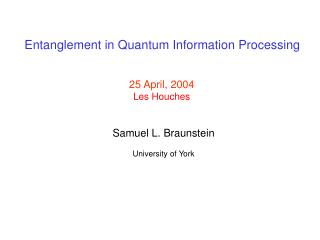 Entanglement in Quantum Information Processing