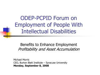 ODEP-PCPID Forum on Employment of People With Intellectual Disabilities
