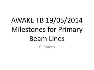 AWAKE TB 19/05/2014 Milestones for Primary Beam Lines