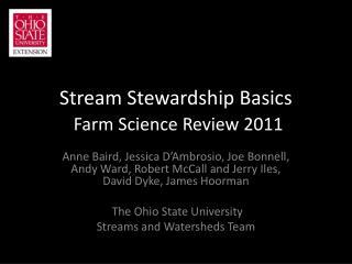 Stream Stewardship Basics Farm Science Review 2011