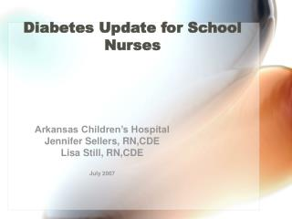 Diabetes Update for School Nurses