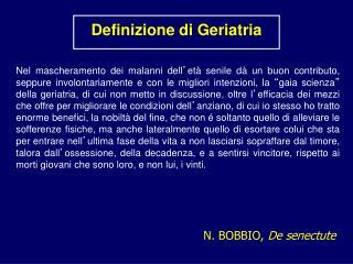 Definizione di Geriatria