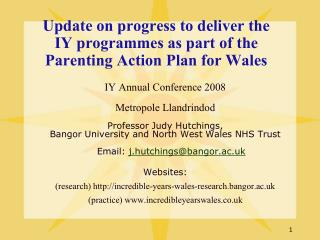 Update on progress to deliver the IY programmes as part of the Parenting Action Plan for Wales