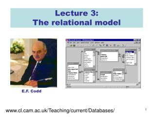 Lecture 3:  The relational model