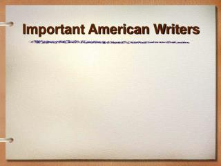 Important American Writers