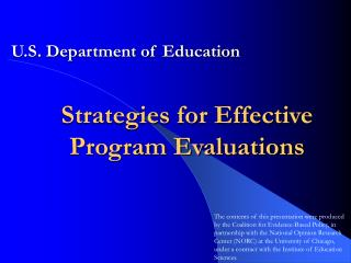 Strategies for Effective Program Evaluations
