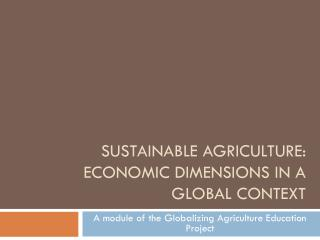 Sustainable agriculture: Economic dimensions in a global context