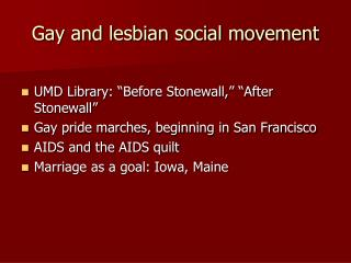Gay and lesbian social movement