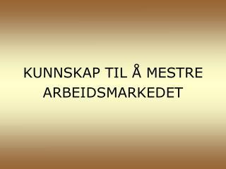 KUNNSKAP TIL Å MESTRE ARBEIDSMARKEDET