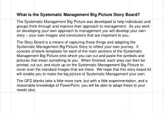 What is the Systematic Management Big Picture Story Board?