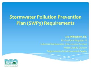 Stormwater Pollution Prevention Plan (SWP3) Requirements
