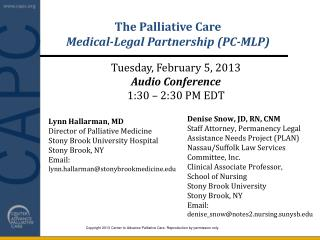 The Palliative Care  Medical-Legal Partnership (PC-MLP)