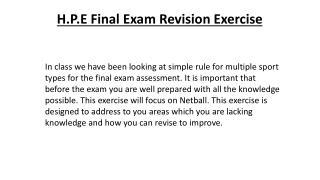 H.P.E Final Exam Revision Exercise