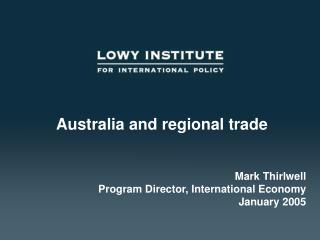 Australia and regional trade