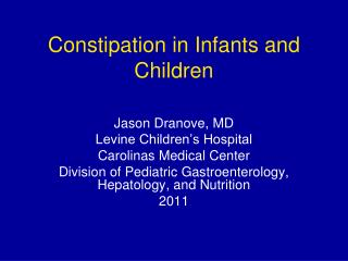 Constipation in Infants and Children