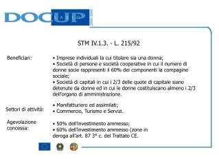 STM IV.1.3. - L. 215/92