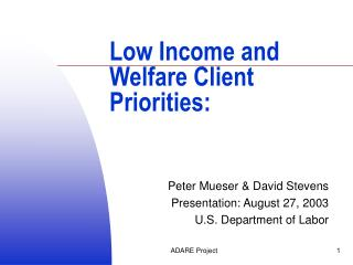 Low Income and Welfare Client Priorities: