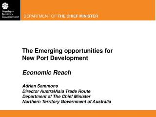 The Emerging opportunities for New Port Development Economic Reach  Adrian Sammons