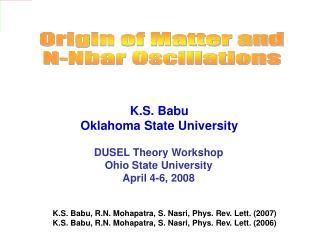Origin of Matter and N-Nbar Oscillations