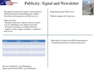 Publicity: Signal and Newsletter