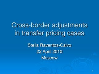 Cross-border adjustments in transfer pricing cases