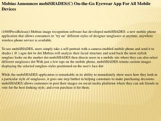 mobius announces mobishades(c) on-the-go eyewear app for all