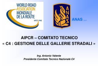 AIPCR – COMITATO TECNICO «C4 : GESTIONE DELLE GALLERIE STRADALI» Ing. Antonio Valente