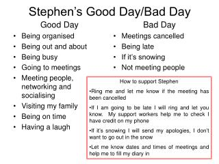 Stephen's Good Day/Bad Day