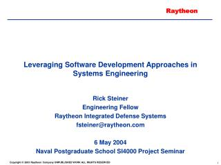 Leveraging Software Development Approaches in Systems Engineering
