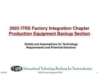 2003 ITRS Factory Integration Chapter  Production Equipment Backup Section