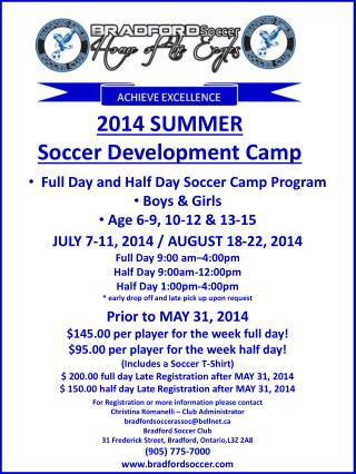 2014 SUMMER Soccer Development Camp