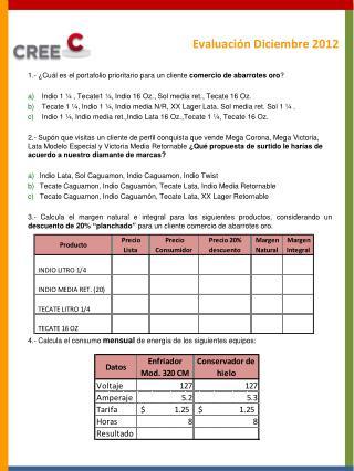 Evaluación  Diciembre  2012