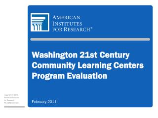 Washington 21st Century Community Learning Centers Program Evaluation