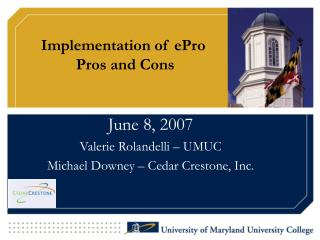 Implementation of ePro  Pros and Cons