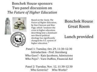 Bonchek  House Great Room Lunch provided