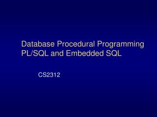 Database Procedural Programming PL