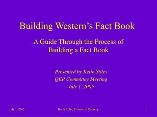 Building Western�s Fact Book