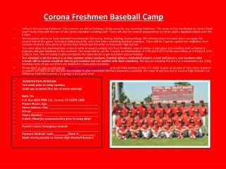 Corona Freshmen Baseball  Camp