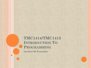 TMC1414/TMC1413 Introduction To Programming