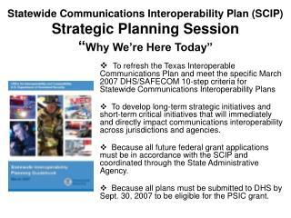 SCIP Strategic Planning Session