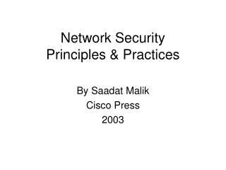Network Security  Principles & Practices