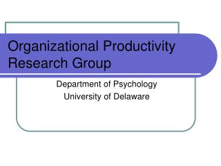 Organizational Productivity Research Group