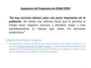 Supuestos del Programa de GANA PERU