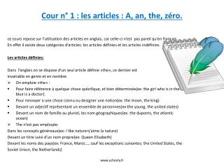 Cour n� 1�: les articles�: A, an, the, z�ro.
