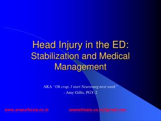 Head Injury in the ED: Stabilization and Medical Management