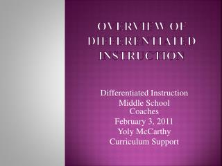 Overview of  Differentiated Instruction