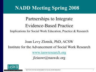 NADD Meeting Spring 2008
